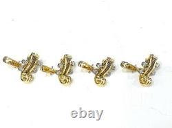 18KW-Yellow Gold Deakin & Francis Set of Violin/Chelo Head Cufflinks & Stub Set