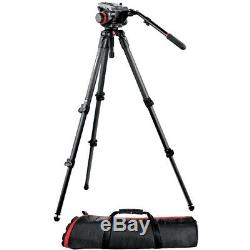 2 Manfrotto 535 MPRO Carbon Fiber Tripod with 504HD Video Ball Head +BAG MBAG100