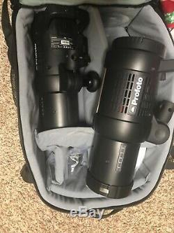 2 Profoto b1 500 air ttl flash heads and carbon fiber tripod Excellent conditi