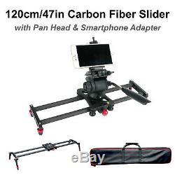 47in Carbon Fiber Camera Slider Track Tripod Mount with Pan Tilt Head & Carry Bag