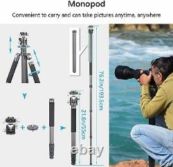 72.6 in Carbon Fiber Tripod Stand & Double Panoramic Ball Head for DSLR Camera