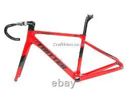Aero Carbon Road Bike Frameset 700C Disc Brake Handlebar Head parts Skewers
