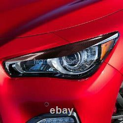 Carbon Fiber Headlight Eyelid Trim Cover Eyebrows For 2014-2020 INFINITI Q50