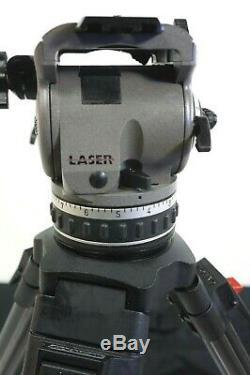 Cartoni Laser Z100 Head 100mm CF Carbon Fiber Tripod H604 GRSPR PL SERVICED 21Lb