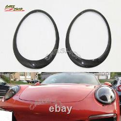 For Porsche 911 991 2011-2018 Real Carbon Fiber Front Head Light Cover Trim