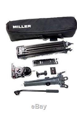 MILLER CF CARBON FIBER TRIPOD SYSTEM FLUID HEAD 30-II HD GR SPR PLATE BAG 42Lbs