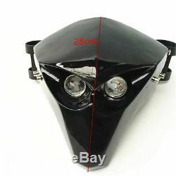 Motorcycle Carbon Fiber LED Headlight Fairing Skeleton Skull Head Light Custom