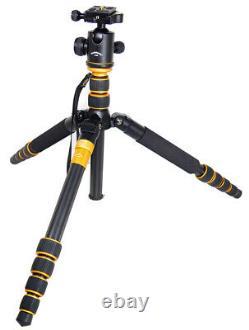 Portable Q666C Carbon Fiber Camera Tripod Monopod & Ball Head Portable Travel