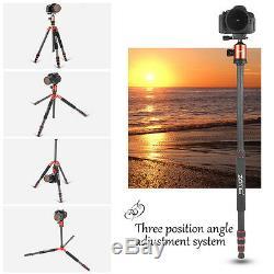 Pro Carbon Fiber Camera Tripod Portable Monopod Ball Head for DSLR Camera Canon