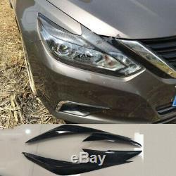Real Carbon fiber Head Lights Eyebrow Eyelid Garnish For Nissan Altima 16-18 SR