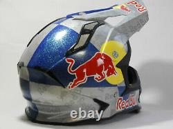 Red Bull KYT strike eagle dirtbike helmet. Spray painted graphics