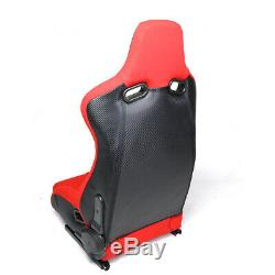 Red+black Leather High Head+carbon Fiber Design Reclinable Sport Racing Seats