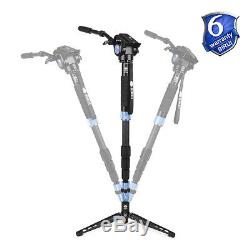 SIRUI P-424S+VH10 Video Head Professional Carbon Fiber Monopod with Support Feet