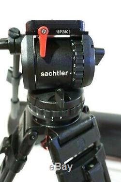 Sachtler 18P PLUS HEAD CF TRIPOD SYSTEM MID-7007 PL TBAR AIR CASE SERVICED 40Lb