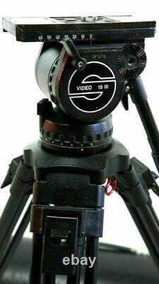 Sachtler VIDEO 18 III HEAD CF CARBON Tripod CARTONI SP100 BAR BAG SERVICED 44Lbs