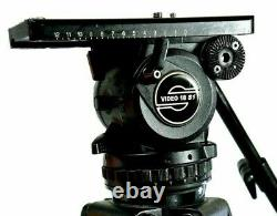 Sachtler VIDEO 18 S1 BEST FLUID HEAD WEDGE PLATE TIE DOWN PAN BAR SERVICED 44Lbs