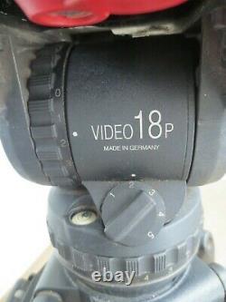 Sachtler Video 18P (PLUS) Fluid Head withCarbon Fiber Tripod & Mid Spreader NICE
