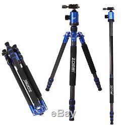 ZOMEI Z888C 68 Carbon Fiber Tripod + Ball Head + Bag for DSLR Camera (Blue)